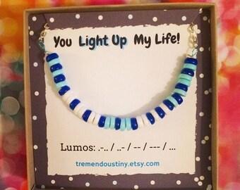 LUMOS Morse Code Necklace | Wizard Sorcerer Jewelry, Romantic Gift
