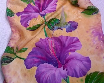 Silk scarf Hand painted  Handmade scarf Pink flowers Gifthibiscus  Scarf shawl Bright accessories Floral pattern Silk painting Batik