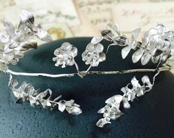 Vintage silver wedding crown, 1950s, German Myrtle, Boho headpiece, rustic wedding, hair accessories, hair wreath, bridal tiara,