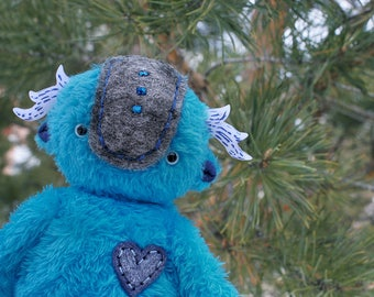 Spirit of the Lunar lake handmade toys blue monster fluffy fairytale fantasy plush