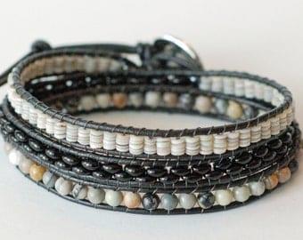 Modern Wrap Bracelet, Leather Wrap Bracelet, Black and Gray Bracelet, Triple Wrap Bracelet, Shell Beads