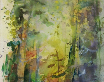 Original watercolor of an undergrowth in autumn, green trees orange and yellow, forest, fir, original painting