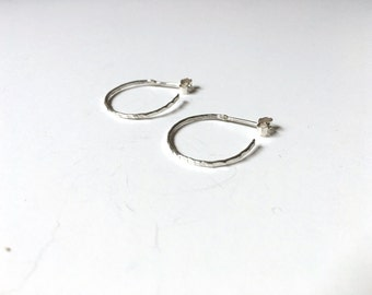 Sterling Silver Hammered Hoop Earrings Small  \\ Eco Silver //