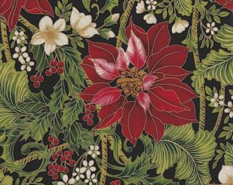 Holiday Flourish 9 - Per Yd - Robert Kaufman - Peggy Toole - Floral on Black