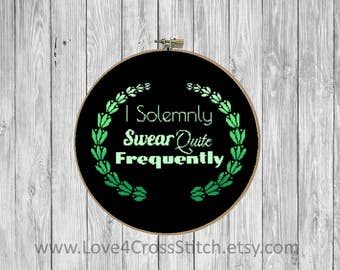 I Solemnly Swear Cross Stitch Pattern Modern, Funny Cross Stitch, PDF Pattern Funny, Quote Cross Stitch, Modern Cross Stitch, Rude Cross