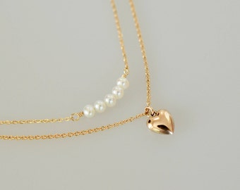 Dainty Layered Necklace, Mini Bead Bar and a Heart Layered Necklace, Bridesmaid Necklace, Heart Necklaces, Valentines Day Gift