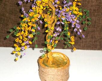 beaded tree, decotative tree, beaded bonsai tree