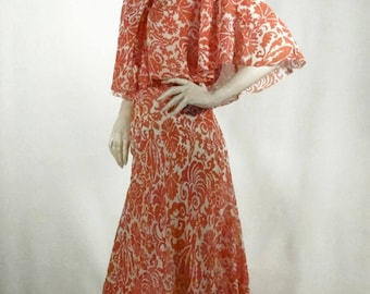1930s Tea Dress Evening Gown Red Silk Chiffon with Flutter Cape Sz 10-12 #G1370A