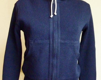 Vest hooded wool Navy Blue - 90s - size 36 (size S)