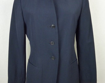 Navy Blue vintage jacket - blazer vintage jacket (80's) - wool - collarless jacket - RABBIS blazer - size 38 M