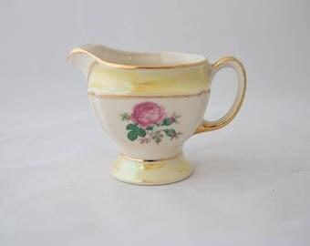 Yellow Lusterware CG USA 22k Gold Creamer Dish with Red Blooming Rose