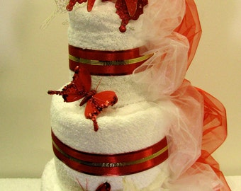Wedding towels cake - Butterflies