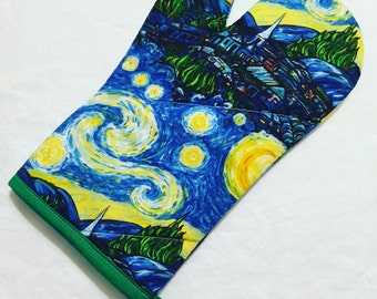 Starry Night Tardis Oven Mitt