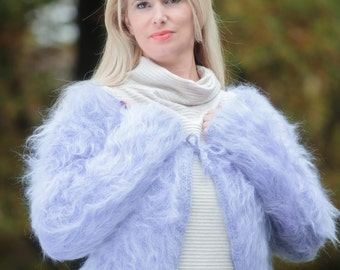FUZZY wrap Mohair Bolero Mohair Sweater Hand Knitted Mohair Shrug Fluffy Mohair Wrap Cardigan by TanglesCreations