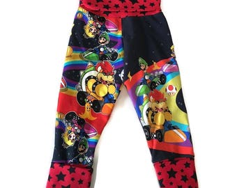 Little Boys Jogger Pants size 6/9m to 3/4y - Video Game Racers Forever Fit Joggers - Rainbow Racers Adjustable Grow Pants - READY TO SHIP