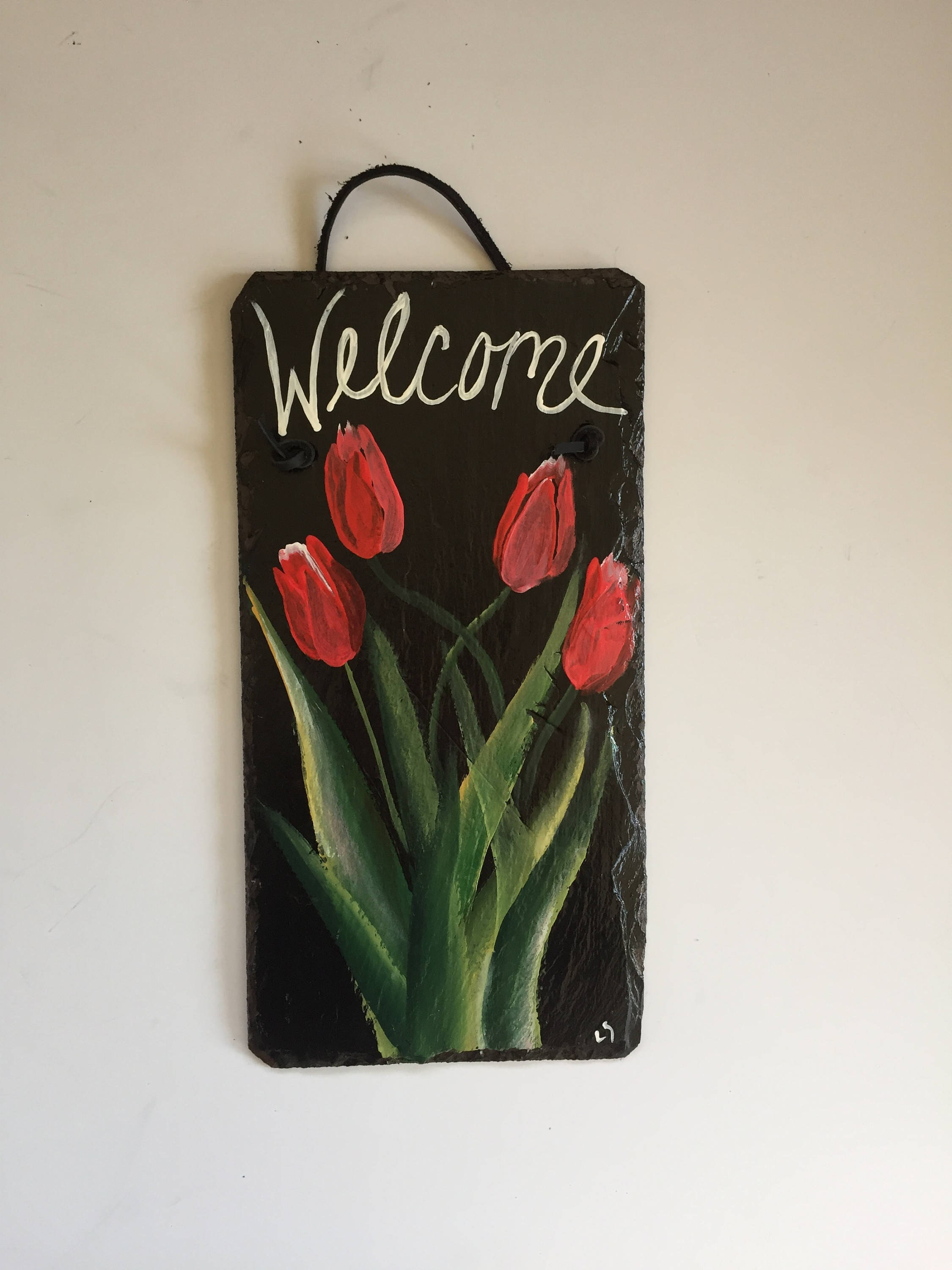 garden sign, red tulips slate welcome sign, 6 x 12 painted slate
