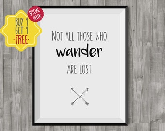 Not all those who wander are lost, Adventure print, Travel poster, Quote prints for living room, Minimalist printable wall art, 8x10 print