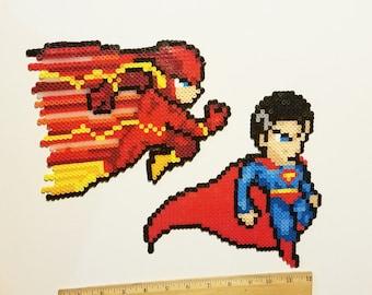 DC Justice League Fanart pick 1 Superman Flash perler bead art wall art plur