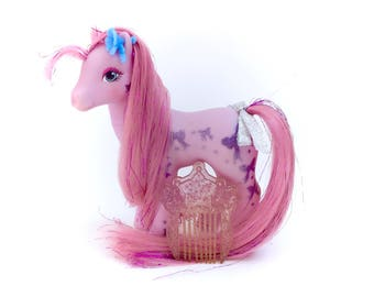 G1 My Little Pony Bright Night Complete Comb Glittery Sweetheart Sister TAF Original Vintage Mlp 80s Hasbro Bows Long leg Purple Tinsel Hair