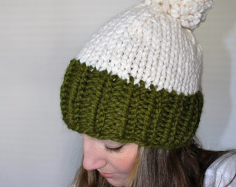 Knit Pom Pom Hat, Chunky Knit Hat, Green Knit Hat - Eldridge Hat Cilantro Fisherman