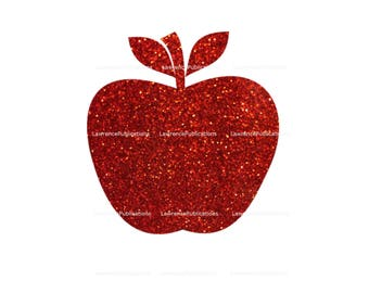 Red Glitter Apple SVG, DXF, PNG File digital download, Clip Art Teachers Cutting File