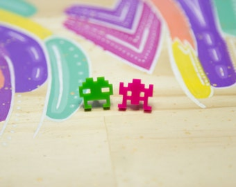 Space Invaders Acrylic Stud Earrings