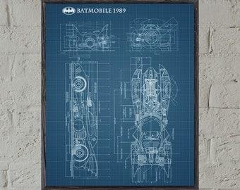 Batman Patent Print,Batman Print,Batmobile Wall Art Poster,Grid Paper,Batman Print,Patent Print,Batman Patent Art, Batmobile Patent #P290