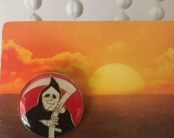 Vintage Deadstock Enamel Grim Reaper Pin