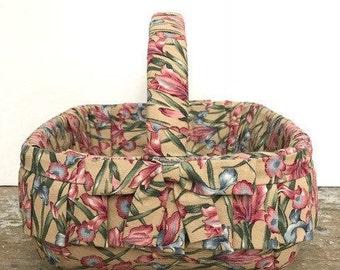 Vintage Floral Basket Covered with Fabric Easter Basket   Home Decor Easter Decor