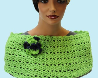 Capelet, cowl, neck warmer,  green scarf, greenery, spring capelet, spring scarf, ready to ship