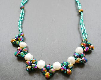 Sparkly aqua crystal bead necklace with mother of pearl