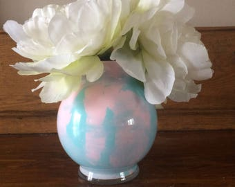 Spring vase, pastel blue and pink, 5.5 inches tall, lovely colors