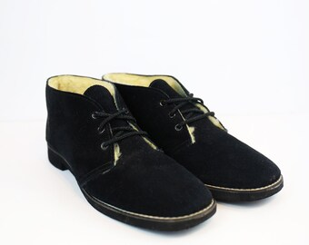 Vintage Black Suede Ankle Boots with Shearling Interior size 9 US WOMENS