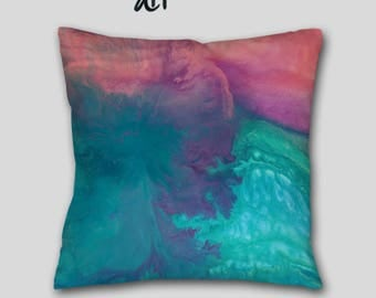 Turquoise throw pillow, Coral purple teal, Toss pillow cover case, Master bedroom decor, Blue Abstract art, Home decor