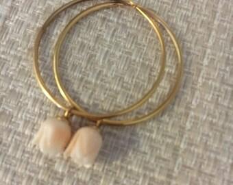 Vintage earrings carved coral hoop earrings