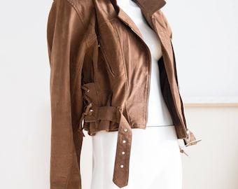 Leather Jacket | Motorcycle Jacket | Cropped Motorcycle Jacket | Brown Leather Jacket | Moto Jacket | Cropped Leather Jacket| Vintage Jacket