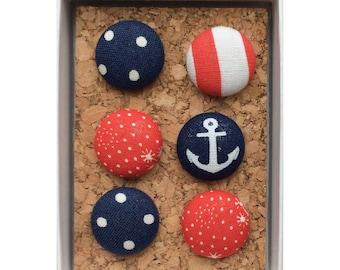 Fabric Covered Push Pins, Fabric thumb tacks, Anchor push pins, thumbtacks, Red push pins, Red thumbtacks, Decorative push pins, nautical
