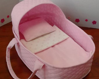 19 Inch Doll Moses Basket, Reborn Doll Bed, Fabric Doll Bed with Mattress, Blanket and Pillow, Doll Bassinet, Fits up to 17 Inch Doll