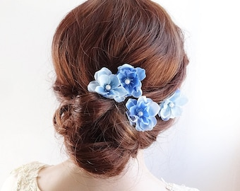 blue hair pins, blue flower hair clip, blue hair accessories, light blue flower, prom hair piece, floral hair pins, flower hair pin, set o 4