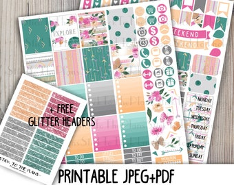 Floral Summer printable planner stickers for your Erin Condren Life Planner TM watercolor tribal aztec floral romantic weekly sticker kit