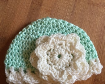 Newborn Crochet  Flower Hat (green)
