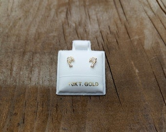 10kt solid yellow gold dauphin shaped baby c.z studs earrings screw back - 10 karat yellow gold studs earrings for babies gift for babies