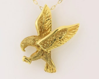 Flying Eagle Pendant- 14k Yellow Jewelry
