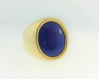 Antique Blue Lapis Signet Ring- 18k Yellow Gold