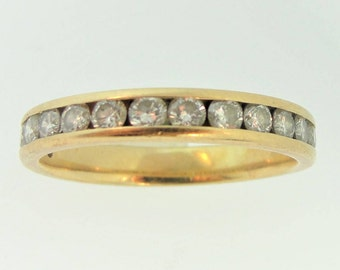 Modified Eternal Diamond Wedding Band- 14k Yellow Gold
