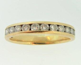 Modified Eternal Diamond Wedding Band- 14k Yellow Gold