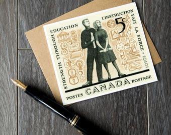 Unique teacher retirement card, teacher thank you cards, Canada Post education stamp, vintage teacher gift cards, gifts for teachers, cards