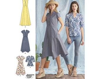 Sewing Pattern Misses' Dress w/ Length Variations and Top, Simplicity Pattern 8384, Handkerchief Hem Dress, Split Neck Top, 2017 New Pattern