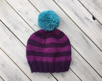 Purple Knitted Baby Hat, Striped Baby Girl Beanie, Newborn Pom Pom Hat, Knit Infant Winter Hat, Going Home Outfit, Fall Baby Girl Clothes