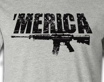 MERICA Shirt - Ar 15 shirt - 'MERICA country shirts - screen printed shirt for Trump supporters - Deplorable tshirt 'merica tee murica shirt